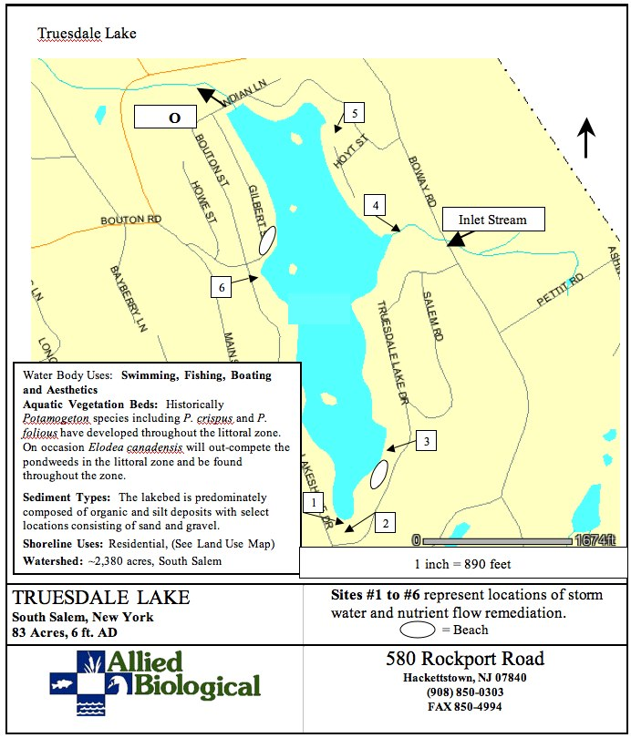 Truesdale Lake Map Depicting Sites 1-6